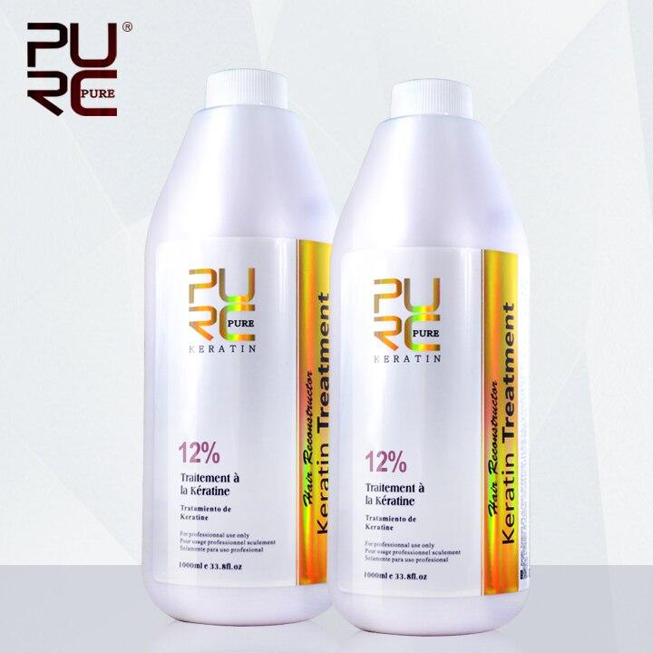 PURC علاج الكيراتين الشعر 12% الفورمالين مكواة فرد الشعر البرازيلي الكيراتين 1000 مللي X 2 زجاجات منتجات العناية بالشعر شحن مجاني