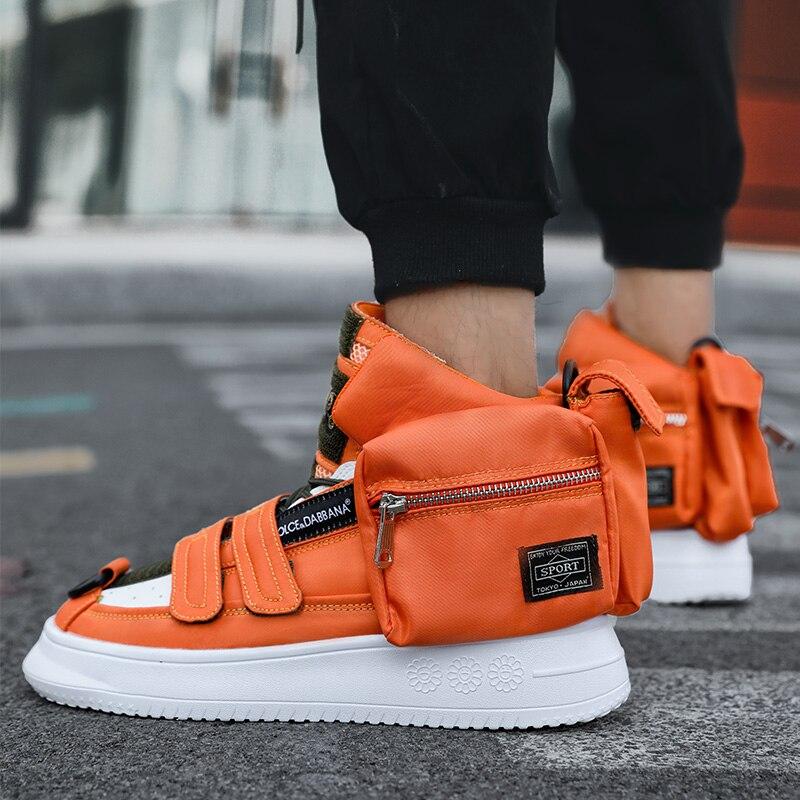 Hot Pocket Decorate Orange Men Casual Shoes Comfort Solid Men's Winter Sneakers Street Style Hip Hop Men shoes zapatillas hombre