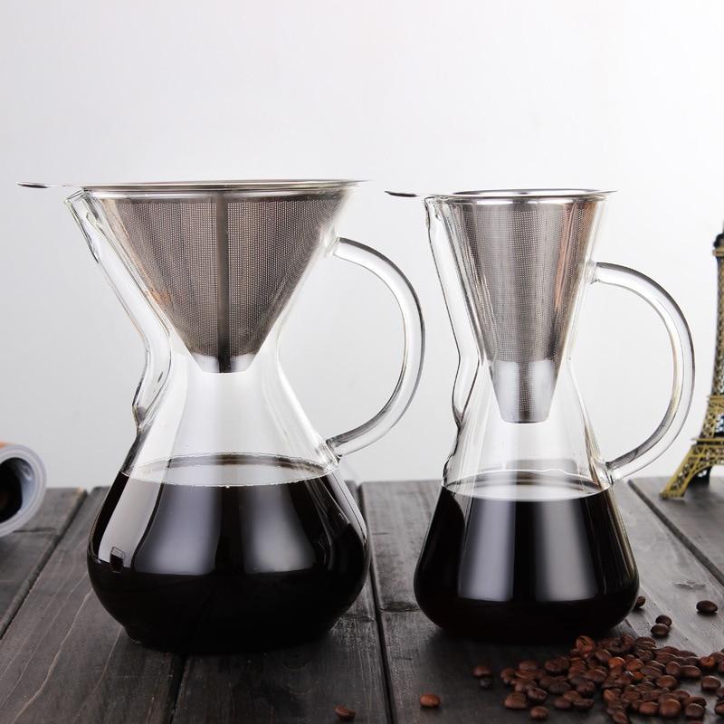 دورق قهوة زجاجي سميك ، وعاء موكا ، مقاوم للحرارة ، سعة كبيرة ، جودة عالية مع فلتر ، محمول للمكتب