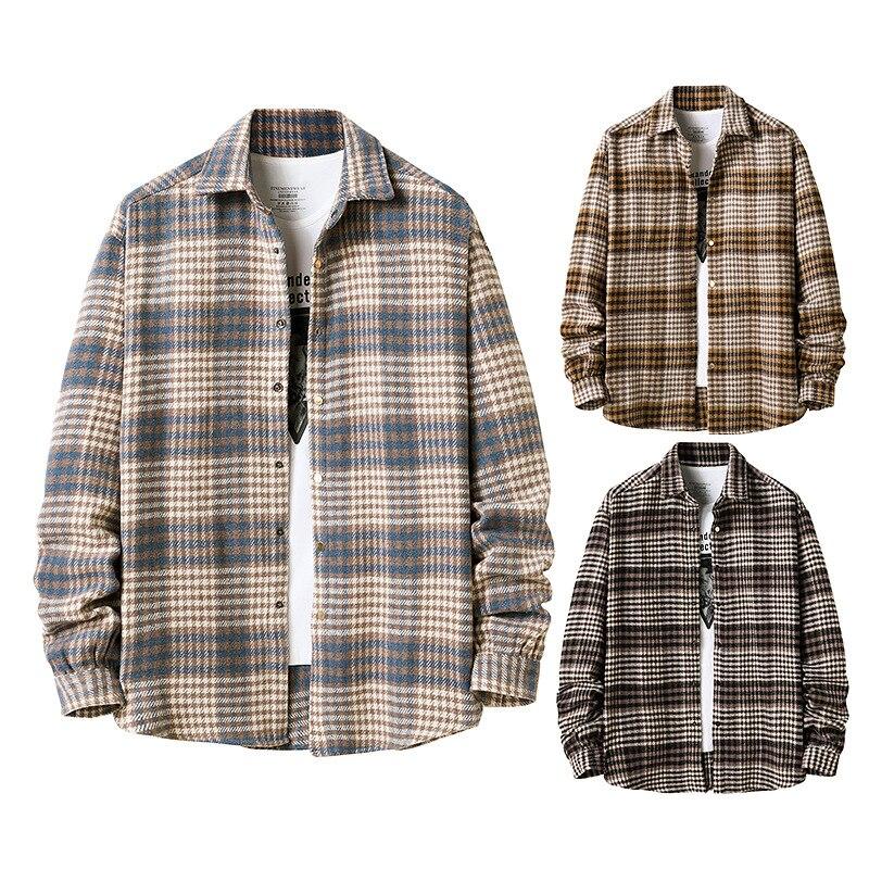Рубашка в шотландскую клетку, мужская рубашка, рубашка Nieuwe для осени, Повседневная рубашка в шотландскую клетку, удобная Облегающая рубашка...