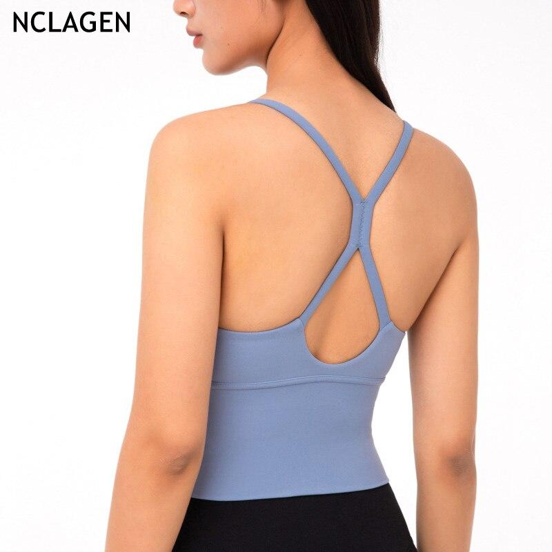 Nclagen-chaleco De Yoga Para Mujer... Sujetador Deportivo y Ropa Interior Para Gimnasio De Entrenamiento... Correr empujar-Top Corto
