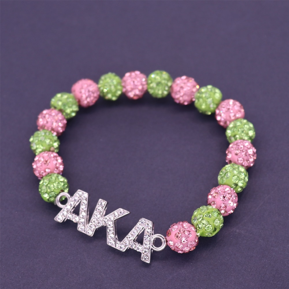 Pink Green Disc Round Ball Crystal Beads Greek Letters Sorority Fraternity AKA Bangles Bracelet Alpha Ka Alpha Group Jewelry
