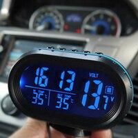 Car Thermometer Digital Clock Automobile Clock LED Lighted Auto Dual Temperature Gauge Voltmeter Voltage Tester 12V 24V input