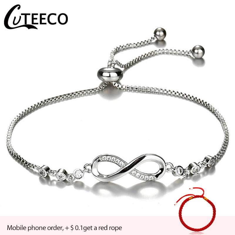 CUTEECO pulseras de moda europea para mujeres Zirconia cúbica infinito tenis pulsera joyería para mujer regalo Dropshipping