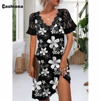 bohemian 2021 summer knee length dress flower print skirt dresses plus size women short sleeve robe vestidos femme v neck dress