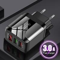 QC 3,0 USB зарядное устройство адаптер с Отображение времени в трех режимах 5V 2.1A быстрое зарядное устройство Универсальный мощность DC адаптер п...