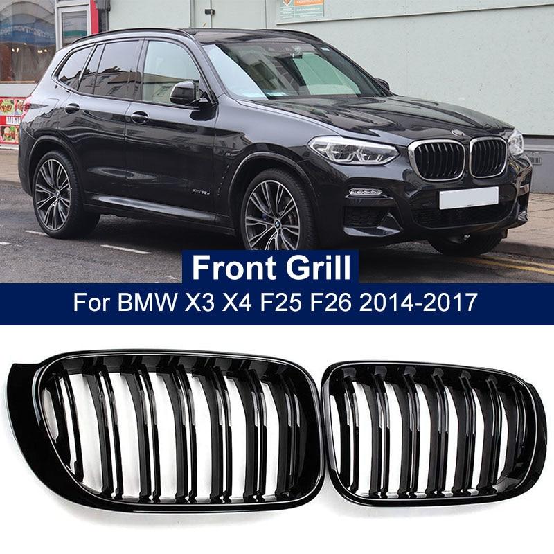 2PCS Car Front Bumper Grill Grille Trim Strip Cover Kidney Sport Double Line Slat For BMW X3 X4 F25 F26 2014 2015 2016 2017 недорого