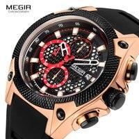 MEGIR Luxury Rose Gold Army Watches Men Top Brand Relogios Masculino Chronograph Quartz Wristwatch Male Man Waterproof Watch