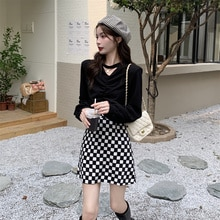 2021 new women's early autumn fashion suit casual sweater small tall with autumn skirt two-piece set