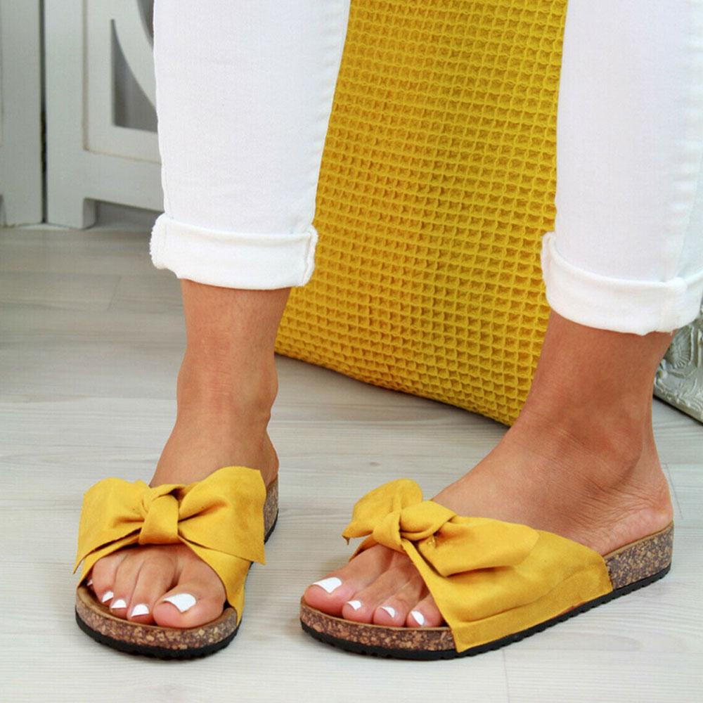 Summer New Womans Slip On Sliders Bow Flatform Mule Summer Sandals Comfy Shoes Plus Sizes Indoor Outdoor Flip-flops Beach Shoes