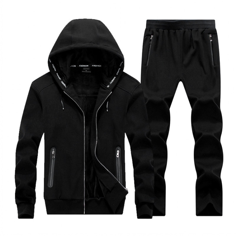 Winter Large Size Sweater Suit Male Hooded Fleece with Thickened Sporting Size Big 8XL  Male Tracksuit Set Men Sportswea