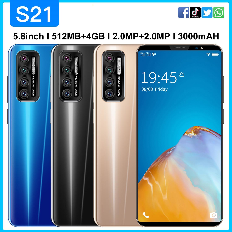 Smartphone S21 Android 4.4 Global Version 512MB RAM+4GB 4500mAh 5.8 Inch Full Screen 3G WCDMA Face Unlock Mobilephone Celular