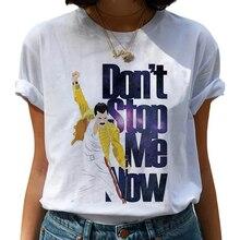 Camiseta de Freddie Mercury Queen Band para mujer, remera Harajuku Vintage Ullzang, playera de reina de moda, Camisetas estampadas de los 90 para mujer