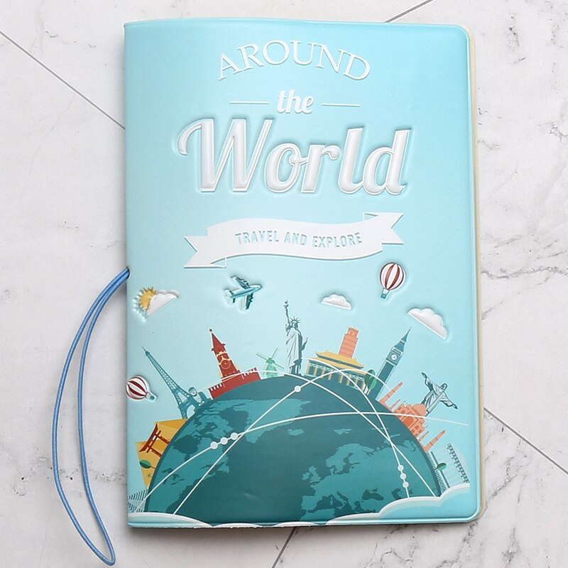 Nuevo tener un buen viaje porta pasaporte hombres/mujeres bolsa de cubierta de pasaporte de viaje Pvc cuero diseño 3D cubierta en el pasaporte para viajes