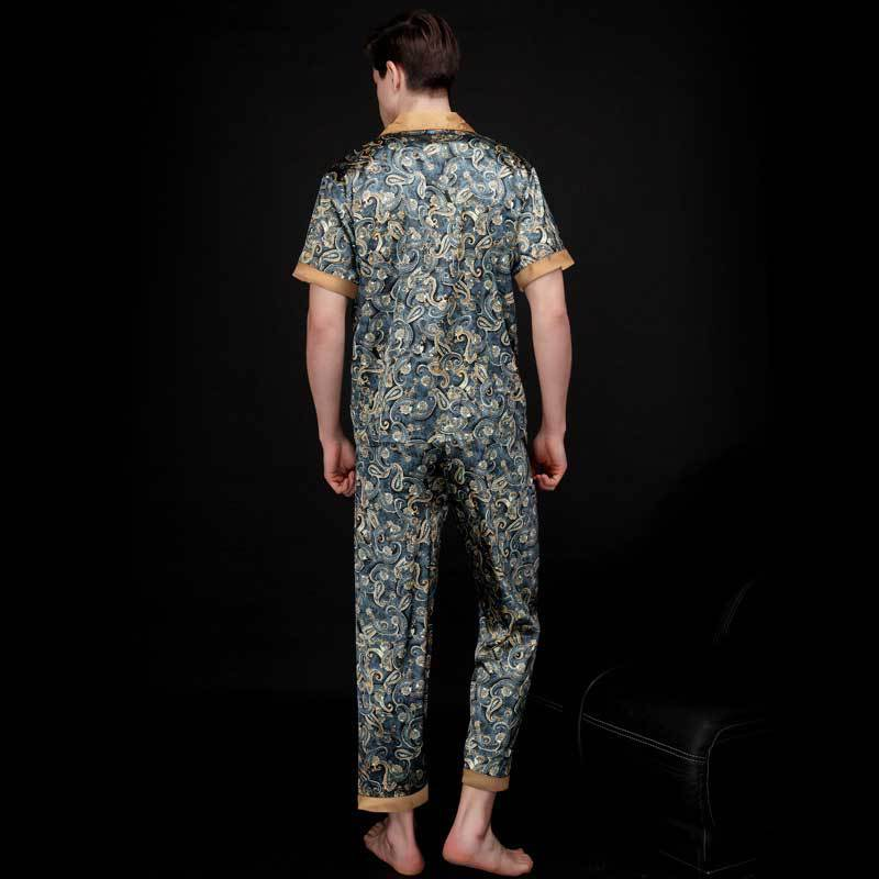 2шт лето лед шелк круто мужские пижамы комплект принт пижамы свободные отложной воротник мужские пижамы плюс размер L-XXXL гостиная одежда