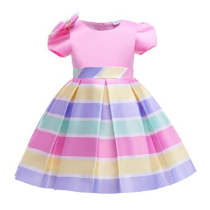Evening Dress 2021 Striped Princess Dress For Child's Party Dress Baby Girls Clothes Kids Birthday Party Formal Dress 3-10 Years