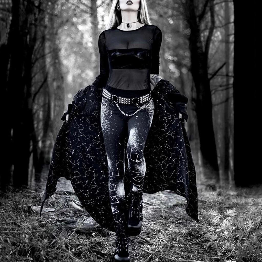 Gothic Style Leggings Women Skinny Goth Print Pencil Pants Fitness High Waist Stretch Push Up Leggings Sweatpants Trousers
