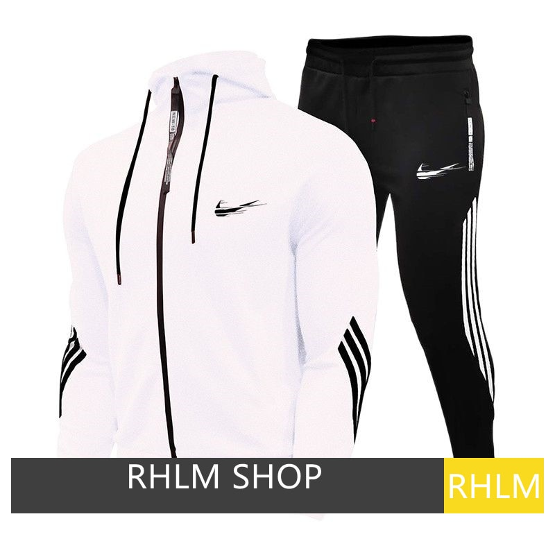 【RHLM】2 Pcs / Set Men\'s 2020 Sportswear Sets Autumn Hooded Thick Men Tracksuit Fashion Sweatshirt + Male Casual Sweatpants New