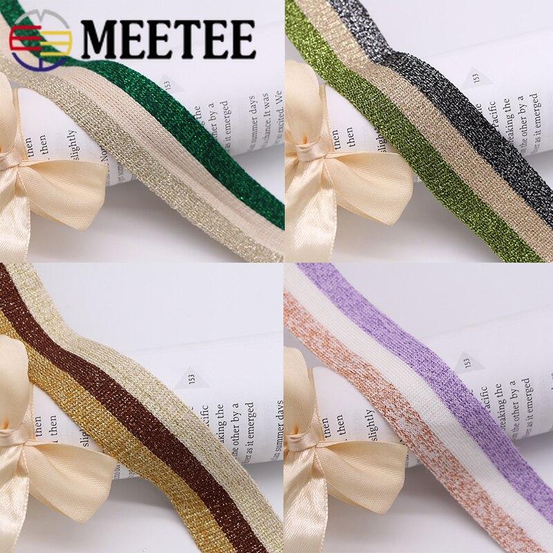5/15 yardas 3cm poliéster tejido a rayas Webbings Pantalones deportivos tela banda elástica estiramiento cintas de encaje accesorios de ropa de bricolaje