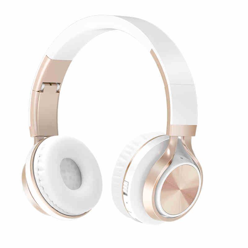 Auriculares inalámbricos dorados con Bluetooth, auriculares estéreo plegables, auriculares para juegos, compatible con tarjeta TF con micrófono para PC, teléfono, Mp3