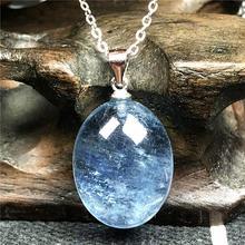 الطبيعية المحيط الأزرق الزبرجد قلادة قلادة مجوهرات للمرأة رجل كريستال 17x14x8 مللي متر خرز بيضاوي حجر 925 الفضة سلسلة AAAAA