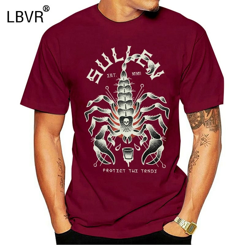 Sullen Männer der Stinger Kurzarm T-Shirt Schwarz Kleidung Bekleidung Tattoo Tees Tinte T Shirt Fashion Classic Stil