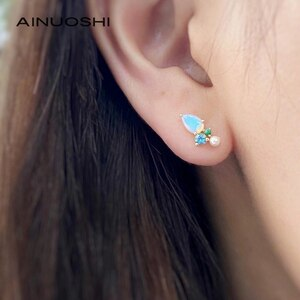 AINUOSHI 18K Gold 0.5ct Natural Opal Real Sapphire Emerald Akoya Pearl Stud Earrings For Women Geometric Gemstone Earrings