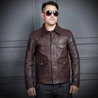 2021 dark brown retro casual style genuine leather jacket men large size 3xl real natural sheepskin spring slim fit short coat