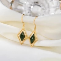 original s925 sterling silver gold inlaid natural hetian jade court high end earrings personality geometry diamond female earrin