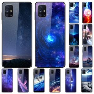 Glass Case For Samsung Galaxy M51 Tempered Glass Phone Case Phone Cover Phone Shell Star Sky Series