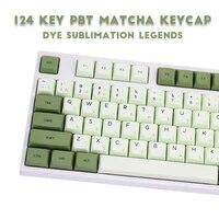 124 keys matcha dye sub zda pbt keycap japanese korean russian for mechanical keyboard mx ansi gh60 sp84 id80 61 gk64 68 87 96