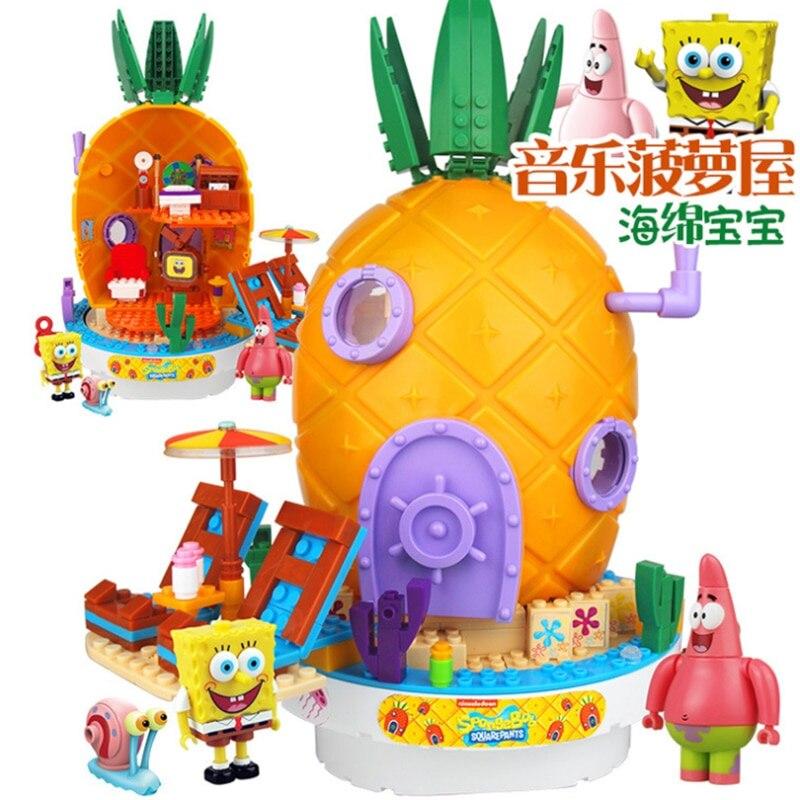 חדש leepining בובספוג מוסיקה צעצועי אננס בית חברים Krabby פאטי פטריק Squidward אבני בניין צעצועים לילדים