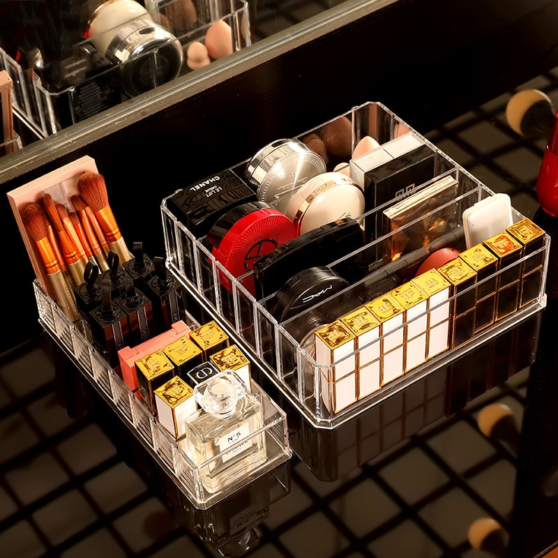 Acrylic Makeup Organizer Cosmetic Office Supplies Drawer Storage Box Nail Polish Lipstick Eye-shadow Blush Storage Holder Rack