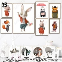 canvas painting for living room cartoon animals cute rabbit fox elephant panda wall art posters and prints for kids room decor