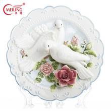 Fait à la main 3D Pigeons plaque décorative 8 pouces en céramique mur Art suspendu Vintage décor à la maison plat mariage pendaison de crémaillère cadeau Collection