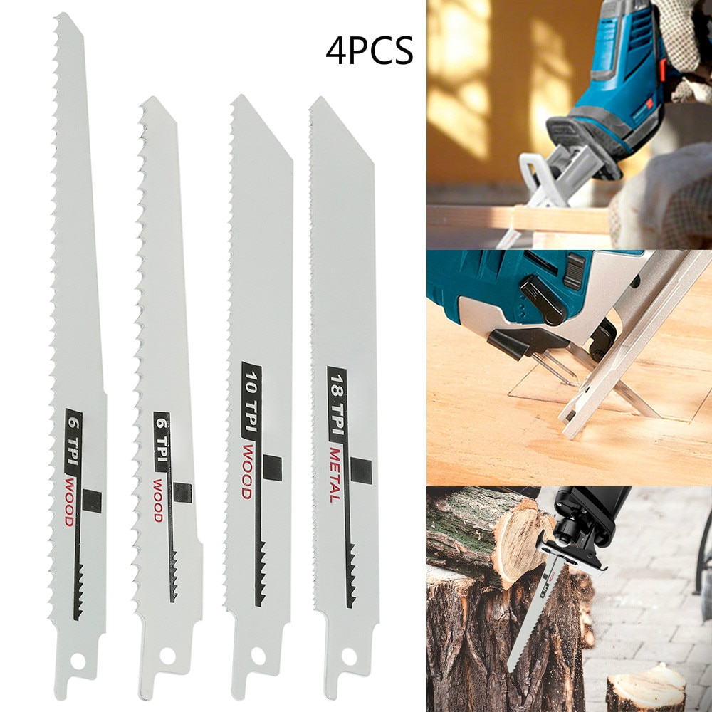 4Pcs Jig Saw Blades Saw Blades Hand Saw Saber Saw Blade for Wood Metal PVC Tube Reciprocating Saw Power Tools Accessories