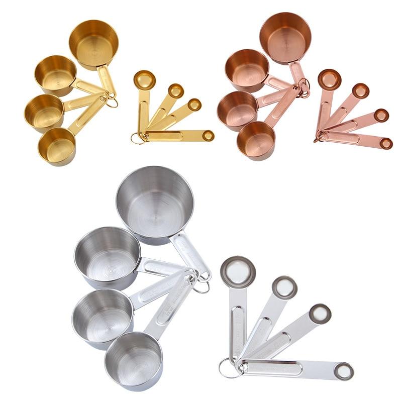 Juego de tazas y cucharas medidoras de acero inoxidable de oro rosa de 8 Uds., tazas medidoras, accesorios de cocina, utensilios para hornear, cuchara para té