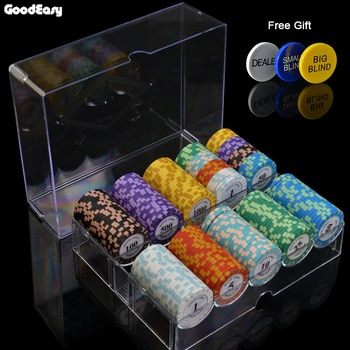 100/200Pieces Poker Chips Set With Box 14g Clay/Ceramic Chips Set Texas Hold'em Poker Chips Casino Coins