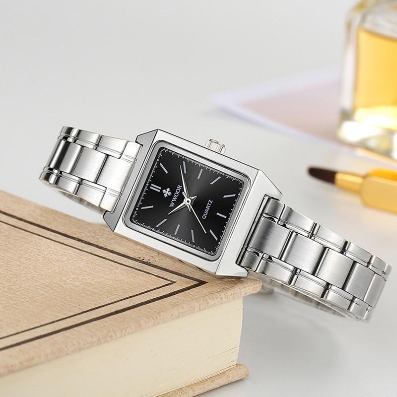 Women Watches WWOOR Casual Square Ultra Thin Small Female Quartz Watch Full Stainless Steel Ladies Wrist Waches Relogio Feminino enlarge