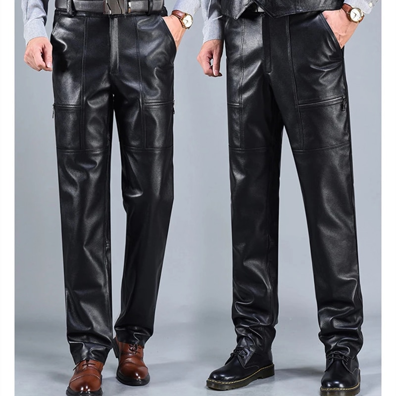 New Men's Trousers Autumn Winter Men's Genuine Leather Pants Motorcycle Windproof Slim Personality Thickened Riding Pants #44