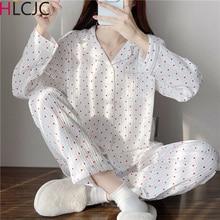 Autumn Women's Sleep Lounge Cartoon Pajama Long Sleeved Woman Pajama Set Pyjamas Femme Cotton Sleepw