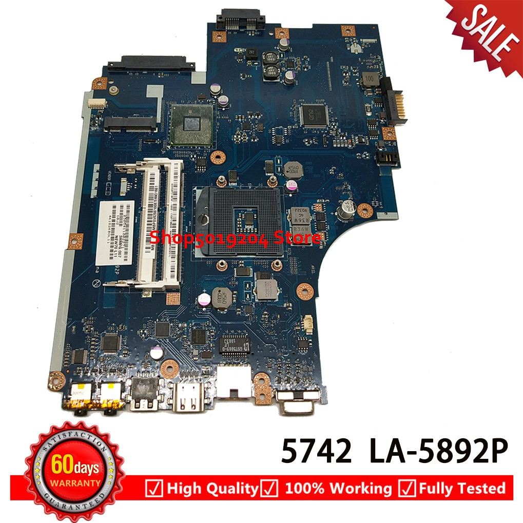 NEW70 LA-5892P HM55 Mainboard Para Acer aspire 5742 5742G 5741 Laptop Motherboard MBWJU02001 MB. WJU02.001