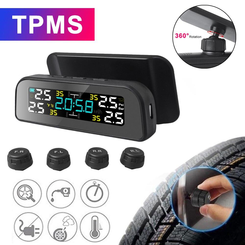 TPMS TPMS da Pressão Dos Pneus Do Carro de Energia Solar Aviso De Temperatura Monitor do Sistema De Segurança Automático de Alarme de Pressão Dos Pneus 360 Ajustável Nova