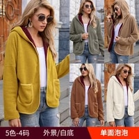 zogaa autumn winter women jacket warm plush casual loose hooded coat solid color winter outerwear faux fur ladies parka coat