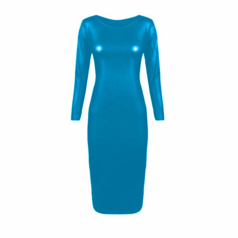 Simple Plus Size S-6XL Big O-neck Long Dress Women Faux Leather Long Sleeve Vestido Shiny Metallic Clubwear Bodycon Maxi Dress