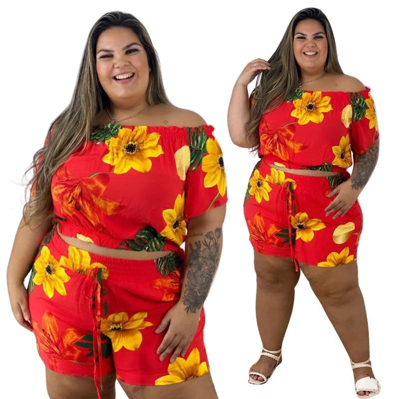 الصيف قطعتين الأزهار السراويل المطبوعة مجموعات النساء حجم كبير مثير مائل الرقبة قصيرة الأكمام أعلى السراويل ملابس نادي الحفلات