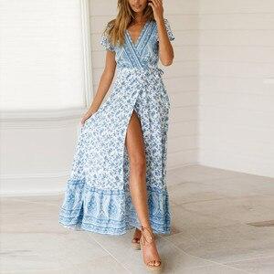 Vintage Floral Print Boho Dress Women Split Sexy Beach Maxi Summer Dress Vestidos Sash Lace Up Elegant Party Long Dress#J30