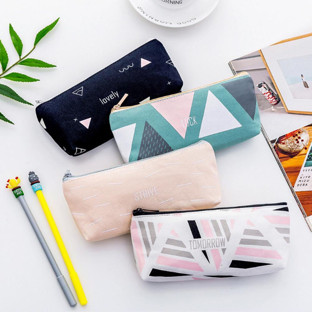 Geometric English Letter Canvas Pen Bag Pencil Case Stationery Storage Pouch