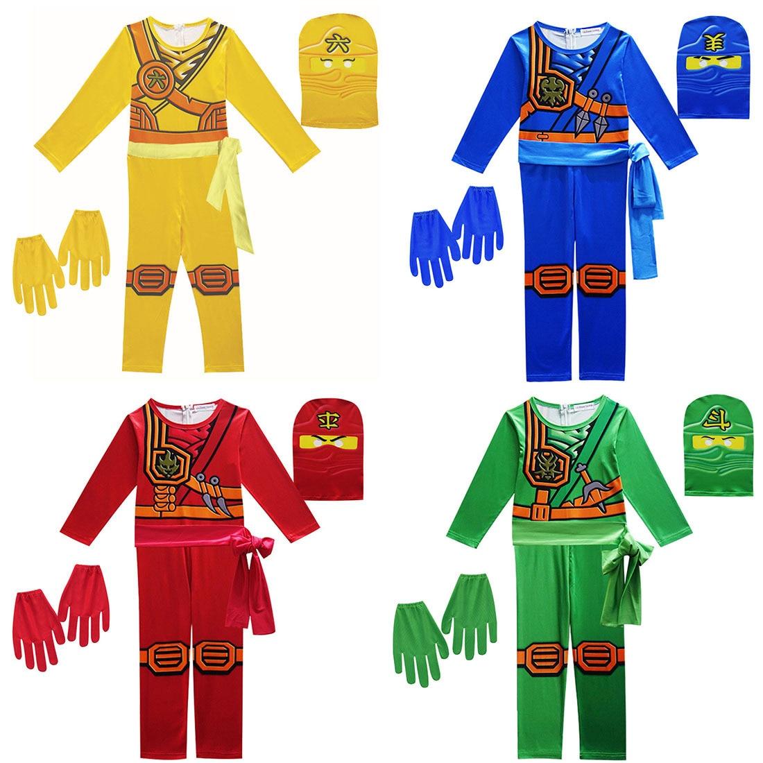 Disfraz para niños, fiesta de disfraces, superhéroe Ninja Ninjago, disfraz para niños, conjuntos de ropa de Cosplay, máscara para disfraz de Halloween para niños