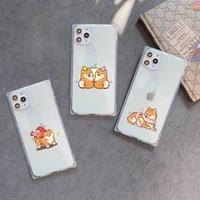 cute cartoon animal corgi dog phone case transparent for iphone 7 8 11 12 se 2020 mini pro x xs xr max plus